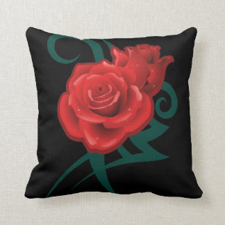 Tribal Red Roses Tattoo Art Throw Pillow