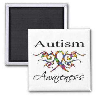 Tribal Ribbon - Autism Awareness 2 Inch Square Magnet