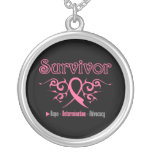 Tribal Ribbon - Breast Cancer Survivor Pendant