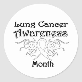 Tribal Ribbon - Lung Cancer Awareness Month Round Sticker