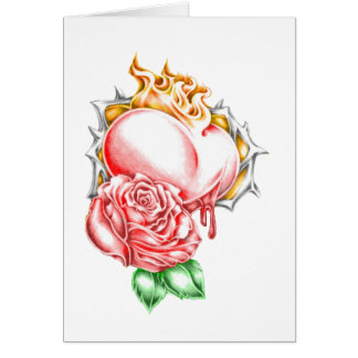 tribal rose heart greeting card