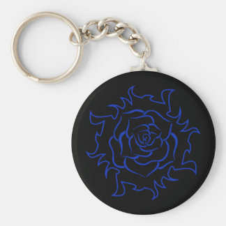 Tribal Rose In Black And Blue Keychain
