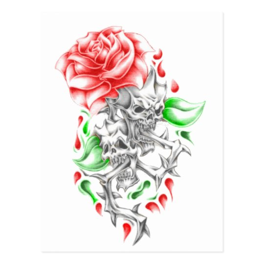tribal roses skulls postcard