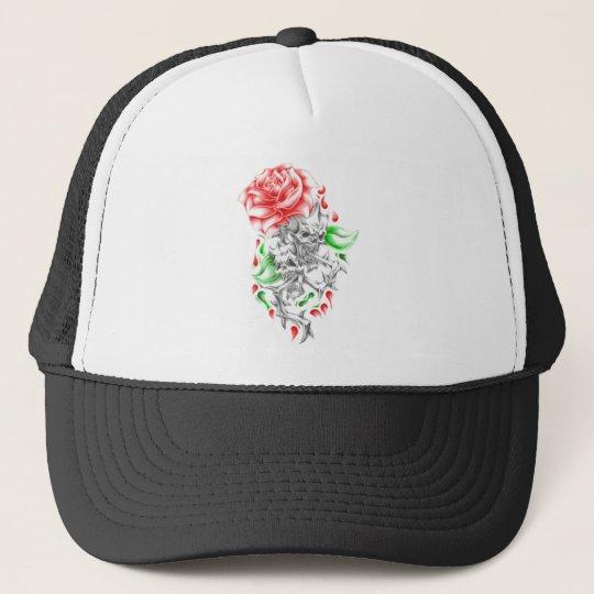 tribal roses skulls trucker hat