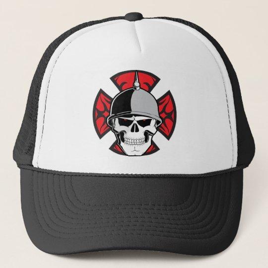 Tribal Round Cross Skull Trucker Hat