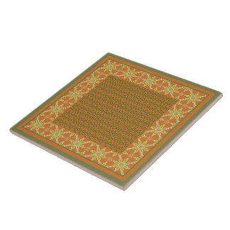 Tribal Rust Green Cream Patterns Ceramic Tile