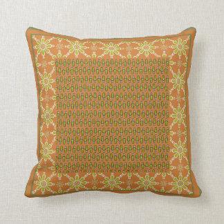 Tribal Rust Green Cream Patterns Pillow or Cushion