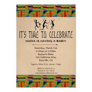 Tribal Safari Baby Shower Invite - Kente Cloth