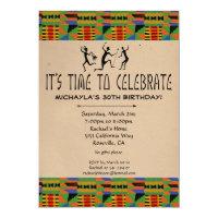 Tribal Safari Party Invitation - Kente Cloth