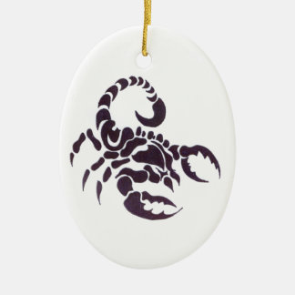 Tribal scorpion Double-Sided oval ceramic christmas ornament