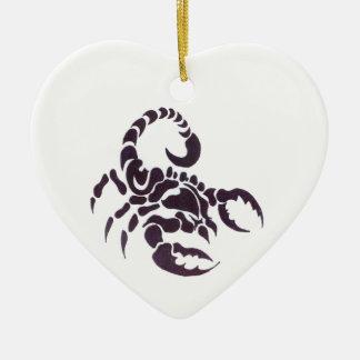 Tribal scorpion Double-Sided heart ceramic christmas ornament