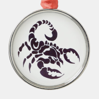 Tribal scorpion round metal christmas ornament