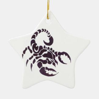 Tribal scorpion Double-Sided star ceramic christmas ornament