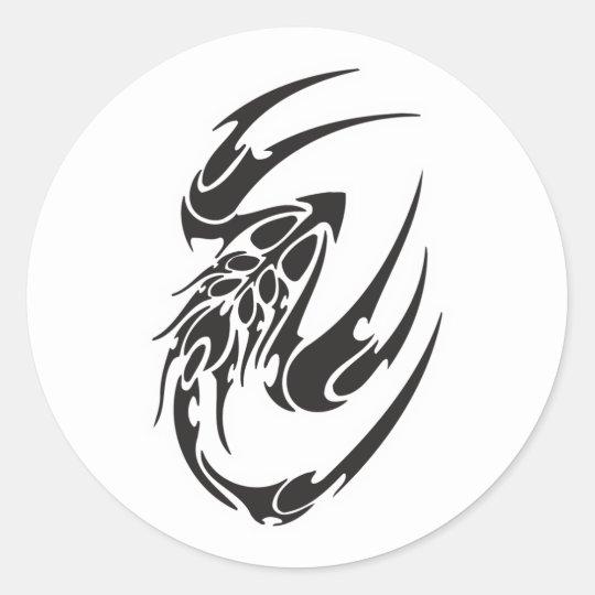 Tribal Scorpion Tattoo Design Classic Round Sticker