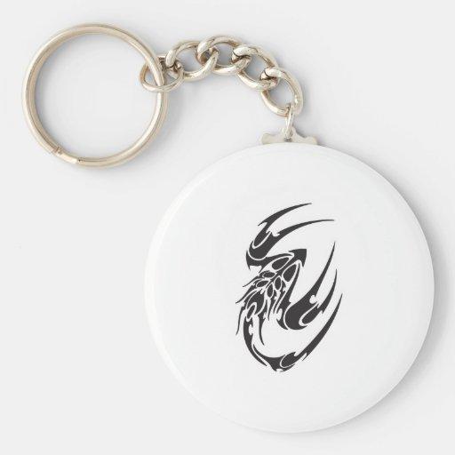 Tribal Scorpion Tattoo Design Keychains