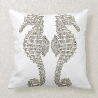 Tribal Seahorses Throw Pillow