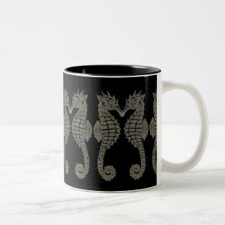 Tribal Seahorses Two-Tone Coffee Mug