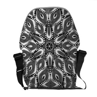 Tribal Serpent Black+White Rickshaw Messenger Bag