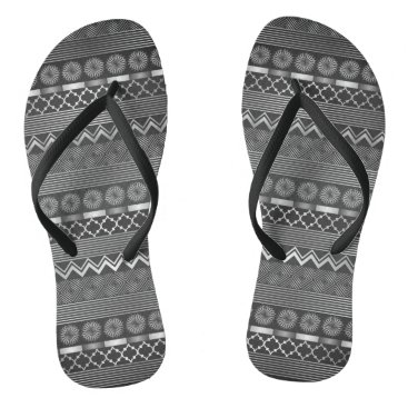 Beach Themed Tribal silver grey pattern flip flops