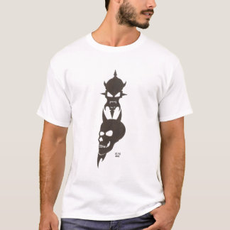 Tribal Skull And Demon Face With Horns by KLM T-Shirt