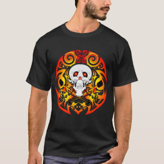 Tribal Skull and Fire-Clubs T-Shirt