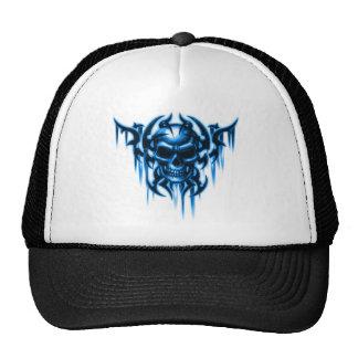tribal skull-blue trucker hat