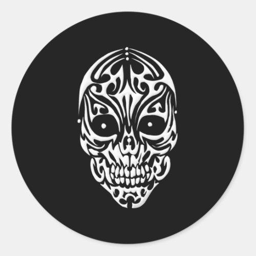 Tribal Skull Classic Round Sticker