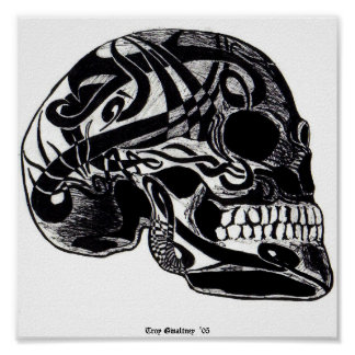 Tribal Skull (Tattoos) Poster