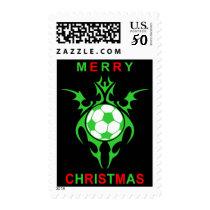 tribal soccer merry christmas postage
