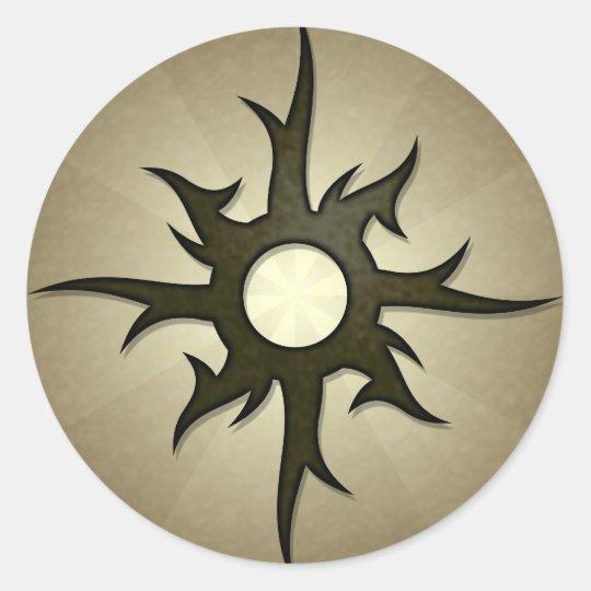 Tribal Solar Thorns Round Sticker