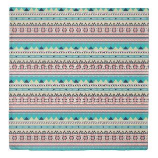 Tribal Southwest Turquoise Geometric Pattern Duvet Cover at Zazzle