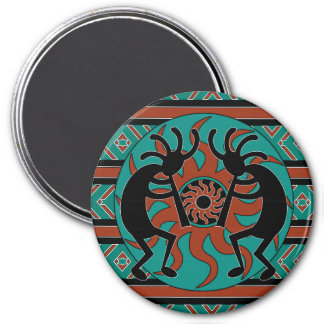 Tribal Southwestern Design Kokopelli 3 Inch Round Magnet