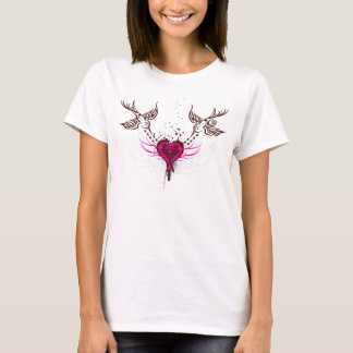 Tribal Sparrows & Heart T-Shirt