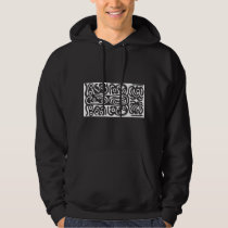 Tribal Speak Art, White Pattern, Hieroglyphs Hoodie