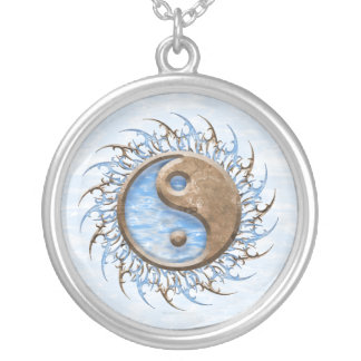 Tribal Stone & Water Yin Yang Silver Plated Necklace