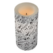 Tribal striped ethnis abstract black white pattern flameless candle