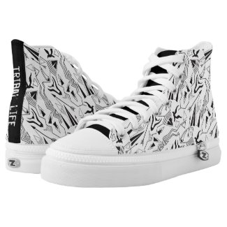 Tribal striped ethnis abstract black white pattern printed shoes