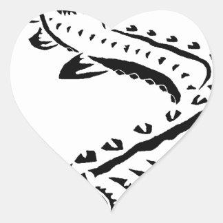 Tribal Sturgeon - Huso Beluga Heart Sticker
