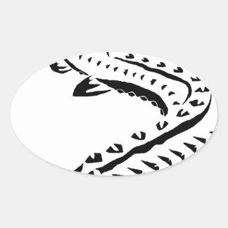 Tribal Sturgeon - Huso Beluga Oval Sticker