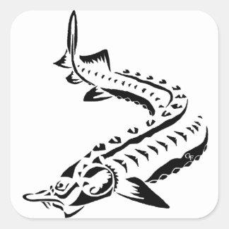 Tribal Sturgeon - Huso Beluga Square Sticker