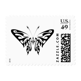 Tribal style butterfly postage stamp