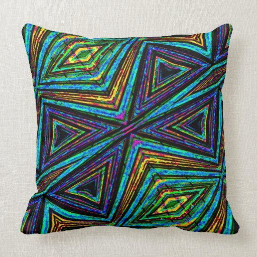 Tribal Design Throw Pillows : Tribal Style Colorful Geometric Pattern Throw Pillow Zazzle