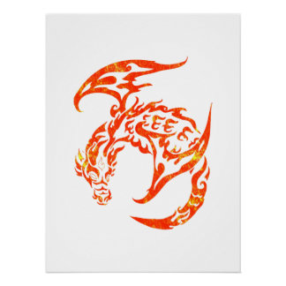 Tribal Style Dragon Poster