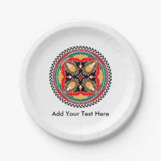 Tribal Style Enviornmental Mandela with Pine Cones Paper Plate