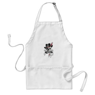 Tribal style gothic skull with feather crown Graph Adult Apron