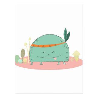 tribal style mushroom monster postcard