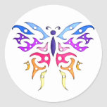 Tribal Style Pastel Butterfly Round Stickers
