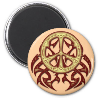 TRIBAL STYLE PEACE SIGN 2 INCH ROUND MAGNET