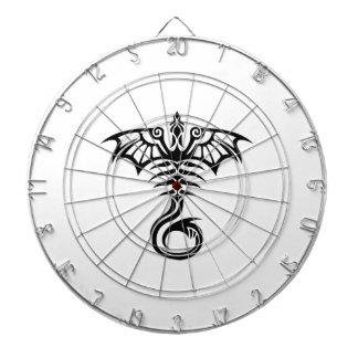 Tribal style tattoo dragon's skeleton dartboard with darts