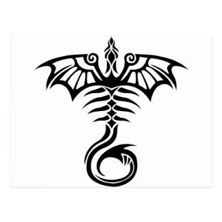 Tribal style tattoo dragon's skeleton postcard